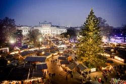 Vienna traditional Christmas Market 2016, aerial view at blue hour (sunset). Wien, Austria, Europe.