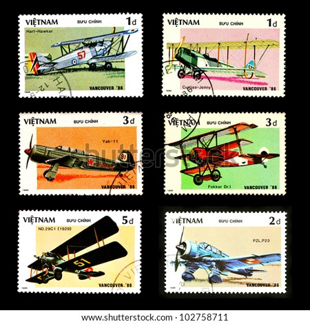 VIETNAM - CIRCA 1986: A stamp printed by VIETNAM shows military aircraft, Set 6, circa 1986