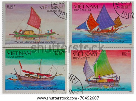 VIETNAM - CIRCA 1988: A Stamp printed in Cuba shows image steam boat ships,, circa 1988