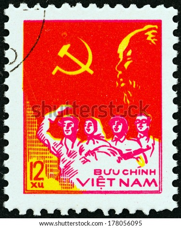 """VIETNAM - CIRCA 1978: A stamp printed in North Vietnam from the """"33rd Anniversary of Proclamation of Vietnam Democratic Republic """" issue shows Worker, Peasant, Soldier and Intellectual, circa 1978."""