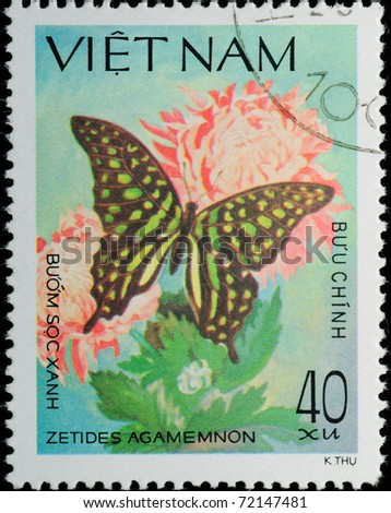 VIETNAM - CIRCA 1983: A stamp printed in Vietnam shows animal insect butterfly Zetides agamemnon , circa 1983