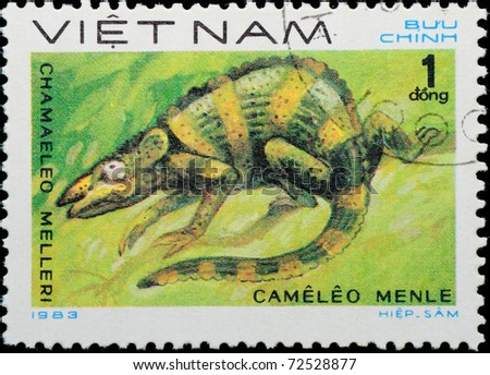 VIETNAM - CIRCA 1983: A stamp printed in Vietnam shows animal reptile chameleon, circa 1983