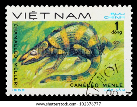 VIETNAM - CIRCA 1983: A stamp printed in Vietnam shows animal reptile, circa 1983