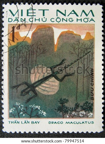 VIETNAM - CIRCA 1983: A stamp printed in Vietnam shows animal reptile flying gecko, circa 1983