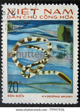 VIETNAM - CIRCA 1983: A stamp printed in Vietnam shows animal reptile snake, circa 1983