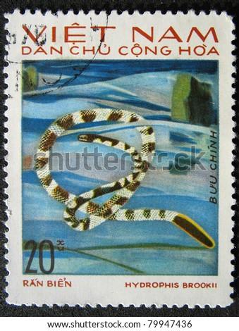 VIETNAM - CIRCA 1983: A stamp printed in Vietnam shows animal reptile snake, circa 1983