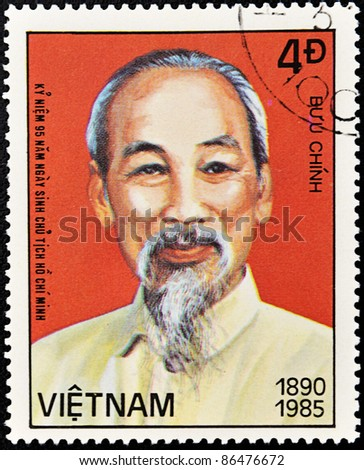 VIETNAM  - CIRCA 1985: A stamp printed in Vietnam shows Ho Chi Minh, circa 1985 - stock photo