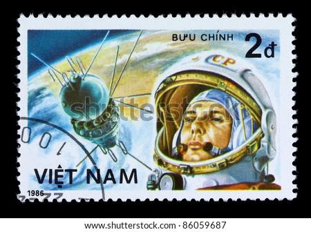 VIETNAM - CIRCA 1986:  A stamp printed in Vietnam. shows Vietnam cosmonaut Pham Tuan ,circa 1986