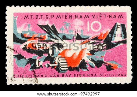 VIETNAM - CIRCA 1964: A stamp printed in Vietnam shows Vietnamese people's war with USA, series, circa 1964