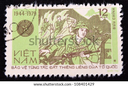 VIETNAM - CIRCA 1979: A stamp printed in Vietnam shows War soldiers, circa 1979