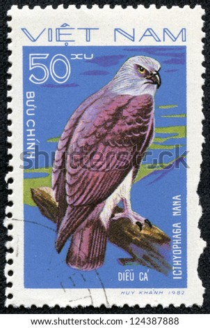 """VIETNAM - CIRCA 1982: A Stamp shows image of a Eagle with the inscription """"Icthyophaga nana"""" from the series """"Birds of prey"""", circa 1982"""