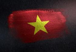 Vietnam  Flag Made of Metallic Brush Paint on Grunge Dark Wall