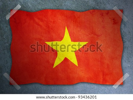 Vietnam flag on cement wall