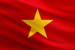 Vietnam flag with fabric texture