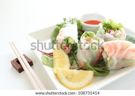 Vietnam food, rice paper spring roll with shrimp