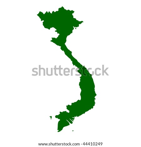 Vietnam map isolated on white background.