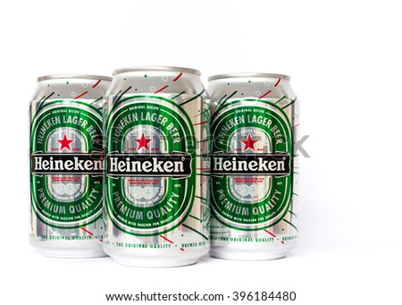VIETNAM-MAR 20, 2016: Close-up view of an aluminum can of Heineken Beer isolated on white. Heineken is a brand of lager beer brewed in Holland, founded in 1864. Its very popular in Vietnam. Copyspace.