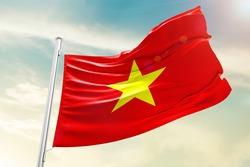 Vietnam national flag cloth fabric waving on the sky  - Image