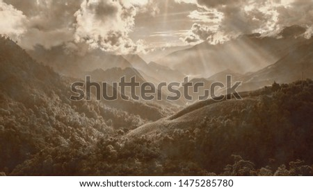 Vietnam, old landscape photo, artistic photograph of mountain landscapes in aged sepia to give it the patina of another time.