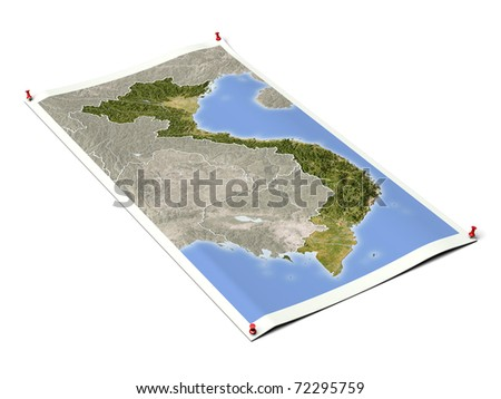Vietnam on unfolded map sheet with thumbtacks. Map colored according to vegetation, with borders. Includes clip path for the background.