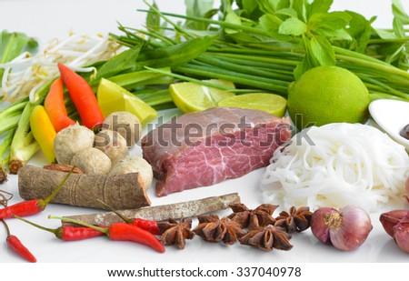 vietnam pho noodle soup ingredients. Food background #337040978
