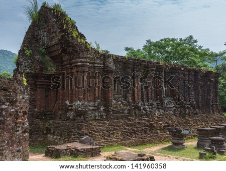 Vietnam, Roofless structure at My Son Cham towers.