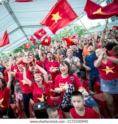 Vietnam's fans at the stadium in Nam Ðinh on September 1 , 2018 #1172500840