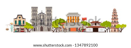 Vietnam skyline colorful background. Famous Vietnamese building. Vietnam hand drawn illustration. Vietnamese travel landmarks/attraction. Isolated on white background