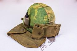 Vietnam Vet Era Helmet, Tags & Ammo Pouch
