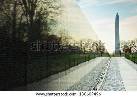 Vietnam War Memorial with Washington Monument