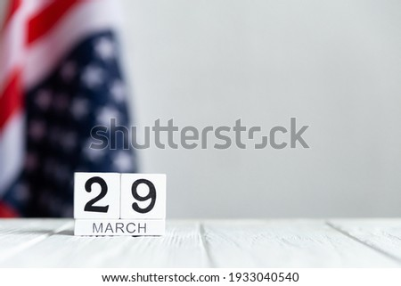 Vietnam War Veterans Day, March 29 calendar on the US flag background. Foto stock ©