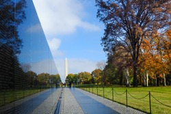 Vietnam War Wall Memorial in autumn - Washington DC, United States of America (USA)