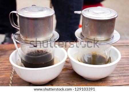 vietnamese coffee on bamboo table