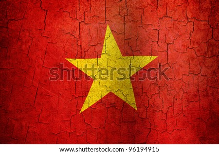 Vietnamese flag on a cracked grunge background