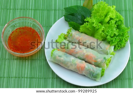 Vietnamese food Fresh Miang,Wrapped in a flour made from vegetables and spices.
