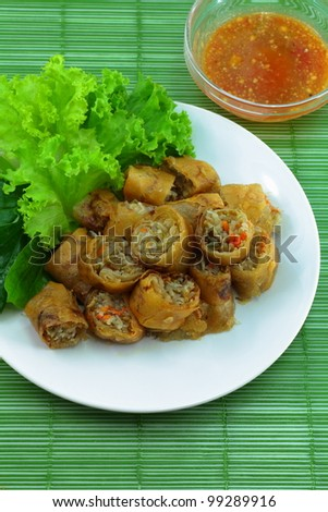 Vietnamese food Miang fried.,Wrapped in a flour made from vegetables and spices and then fried.