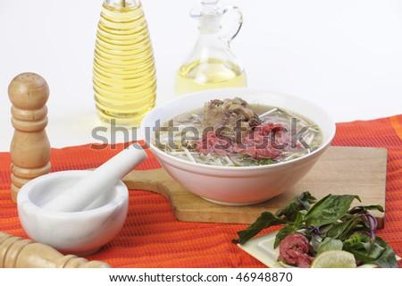 Vietnamese food pho oxtail - stock photo