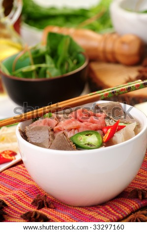 Vietnamese food pho tai or noodle