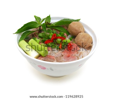 Vietnamese food , rice noodle soup with sliced rare beef and meat ball