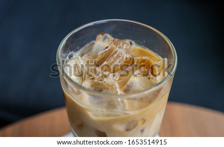 Vietnamese Iced coffee - ca phe sua da - view from the top.  Foto stock ©