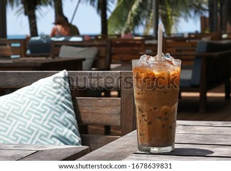 Vietnamese iced coffee with milk Foto stock ©