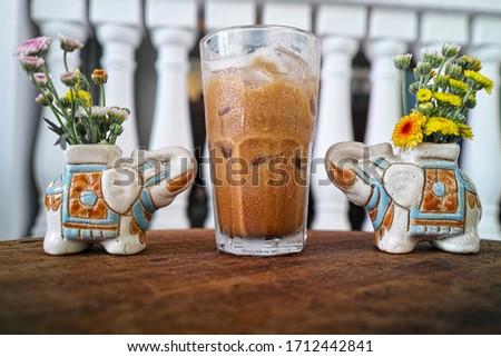 Vietnamese milk coffee with elements decor Foto stock ©