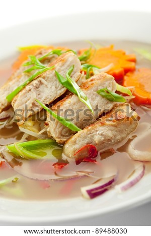 Vietnamese Noodle Soup with Chicken and Vegetables