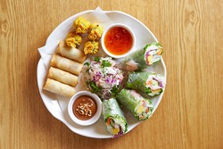 Vietnamese Spring Rolls,various  vegetables ,Vietnamese food
