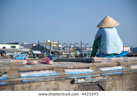Vietnamese woman with conical hat
