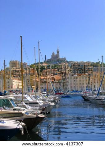 Vieux port and notre dame de la garde marseille france stock photo 4137307 shutterstock - Pharmacie de garde marseille vieux port ...