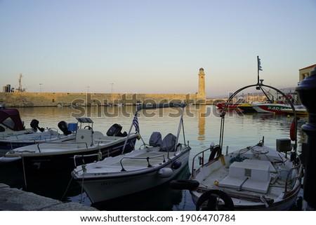 vieux port crete coucher de soleil Foto stock ©