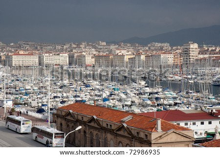 Vieux-port of Marseille (France), overview.