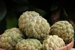 View a group of custard apple in basket, tropical fruits from Asia