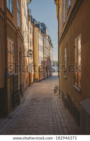 view a narrow street in the old ...